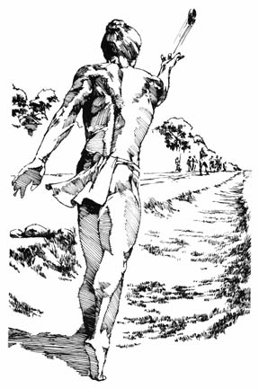 illustration of an ulu maika athlete –Ancient Hawaiian Ulu Maika (Bowling)