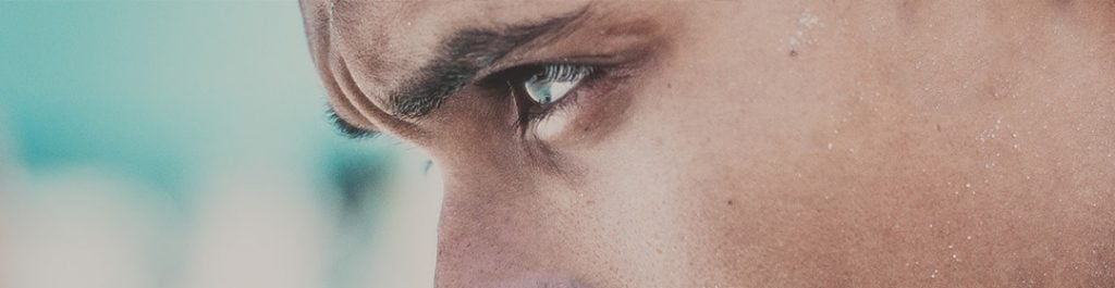 closeup of a mans eye
